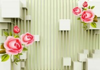 Pink Roses with Stripes Wallpaper Mural