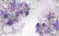 Purple Swarovski Floral with Little Butterfly Wallpaper Mural