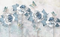 Soft Blue Floral Wallpaper Mural