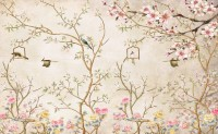 Soft Chinese Florals with Little Birds Wallpaper Mural