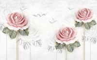 Soft Pink Flower and Charcoal Drawing Roses Wallpaper Mural