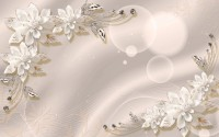 White Jewelry Flower Wallpaper Mural