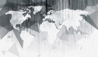Monochrome Polygonal World Map with Abstract Lines Wallpaper Mural