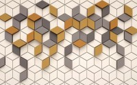 Yellow Gray Geometric Honeycomb Pattern Wallpaper Mural