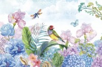 Hydrangea and Peony with Parrot Wallpaper Mural