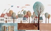 Cartoon Abstract Village Landscape Wallpaper Mural