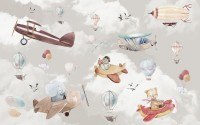 Cartoon Animals Flying with Aircraft Wallpaper Mural