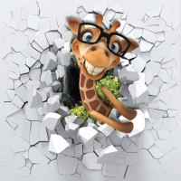 Cartoon Giraffe Wallpaper Mural
