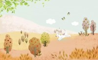 Cartoon Puppy in the Forest Wallpaper Mural