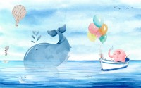 Cartoon Sea with Pink Elephant and Whales Wallpaper Mural