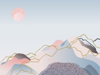 Colorful Mountain with Pink Sun Wallpaper Mural