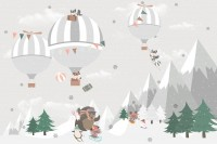 Cute Animals Playing Skate on the Snowy Mountain with Hot Air Balloon Wallpaper Mural