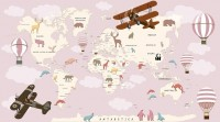 For Kids Pink World Map with Vintage Aircraft and Hot Air Balloon Wallpaper Mural