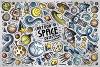 Kids Boys Cartoon Space with Drawing Planets and Stars Wallpaper Mural