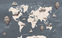 Kids Gray Old World Maps with Vintage Hot Air Balloon and Cars Wallpaper Mural