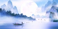 Kids Lakescape with Little Canoe Wallpaper Mural