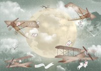 Kids Moon with Aircraft Wallpaper Mural