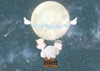 Kids Nightscape with Cow and Elephant Wallpaper Mural
