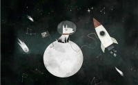 Kids Space Dog with Moon and Rockets Wallpaper Mural