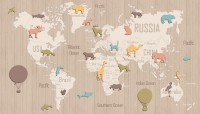 Kids Wooden Style World Map with Colorful Animal Silhouette Wallpaper Mural