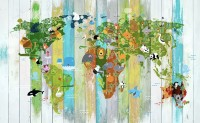 Kids World Map on the Colorful Wood Wallpaper Mural