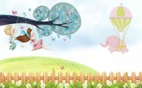 Little Child and Swing Wallpaper Mural
