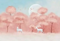 Pink Forest and Horned Deer Wallpaper Mural