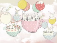 Rabbit Flying in the Cups with Baloon Wallpaper Mural
