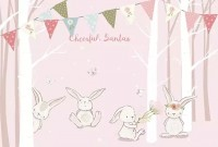 Rabbits in the Pink Forest Wallpaper Mural
