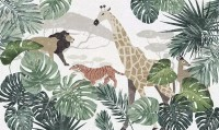 Retro Wild Animals with Tropical Leaves Wallpaper Mural