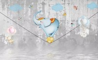 Slackline with Cartoon Elephant on the Ball Wallpaper Mural