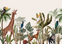 Watercolor Jungle and Safari Animals Wallpaper Mural