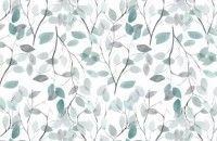 Blue Leaf Pattern Wallpaper Mural