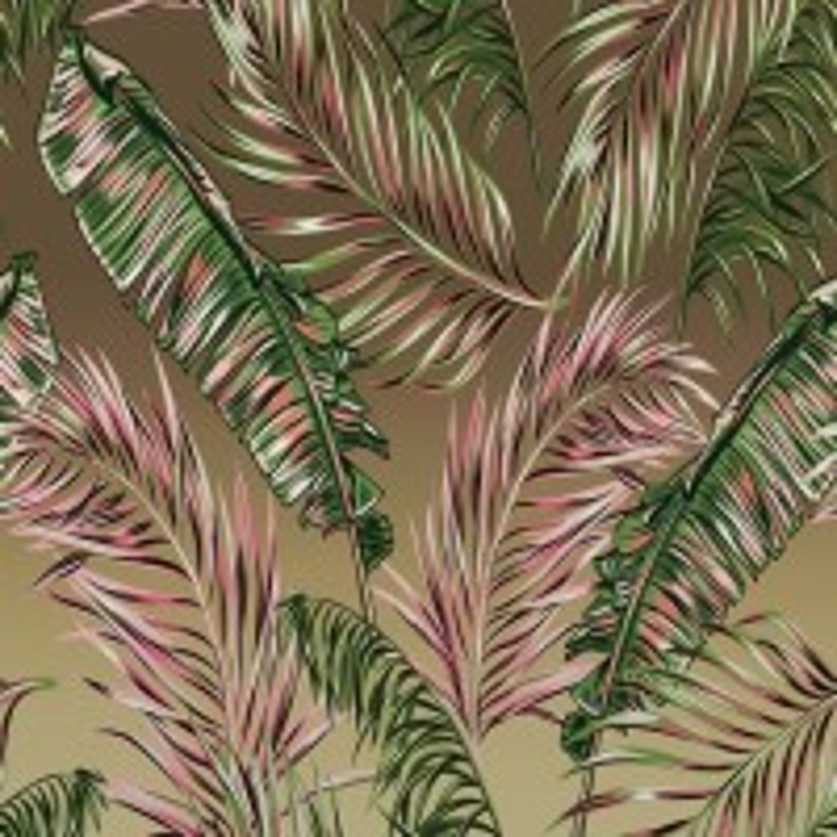 Charcoal Banana and Palm Leaves Wallpaper Mural