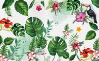 Colorful Mirabilis Flowers and Tropical Leaves Wallpaper Mural