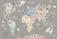 Kids Colorful World Map with Animals Wallpaper Mural