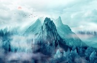 Misty Mountain Landscape and Sunrise Wallpaper Mural