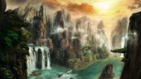 3D Look Waterfall and Misty Sea Landscape on the Sunrise Wallpaper Mural