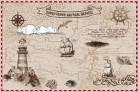 Nautical Maps with Old Sailboat Wallpaper Mural