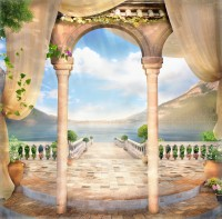 Old Stone Arch and Lake Landscape Wallpaper Mural