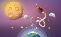 Cartoon Space and Planets Wallpaper Mural