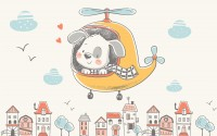 Cute Puppy in Helicopter Wallpaper Mural