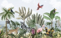 Kids Jungle View with Exotic Animals Wallpaper Mural