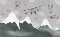 Kids Snowy Mountain with Plane and Balloons Wallpaper Mural