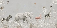 Tropical Animals with Leafs Wallpaper Mural