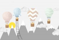 Kids Gray Mountain and Colorful Hot Air Balloon Wallpaper Mural