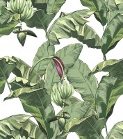 Green Tropical Bananana Leaves with Calla Lily Flowers Wallpaper Mural