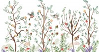 Spring Flower with Birds  on the Trees Wallpaper Mural
