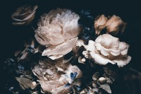 Dark Floral Pink Peony Bouqets Wallpaper Mural