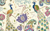 Peacocks with Tulip Floral Wallpaper Mural